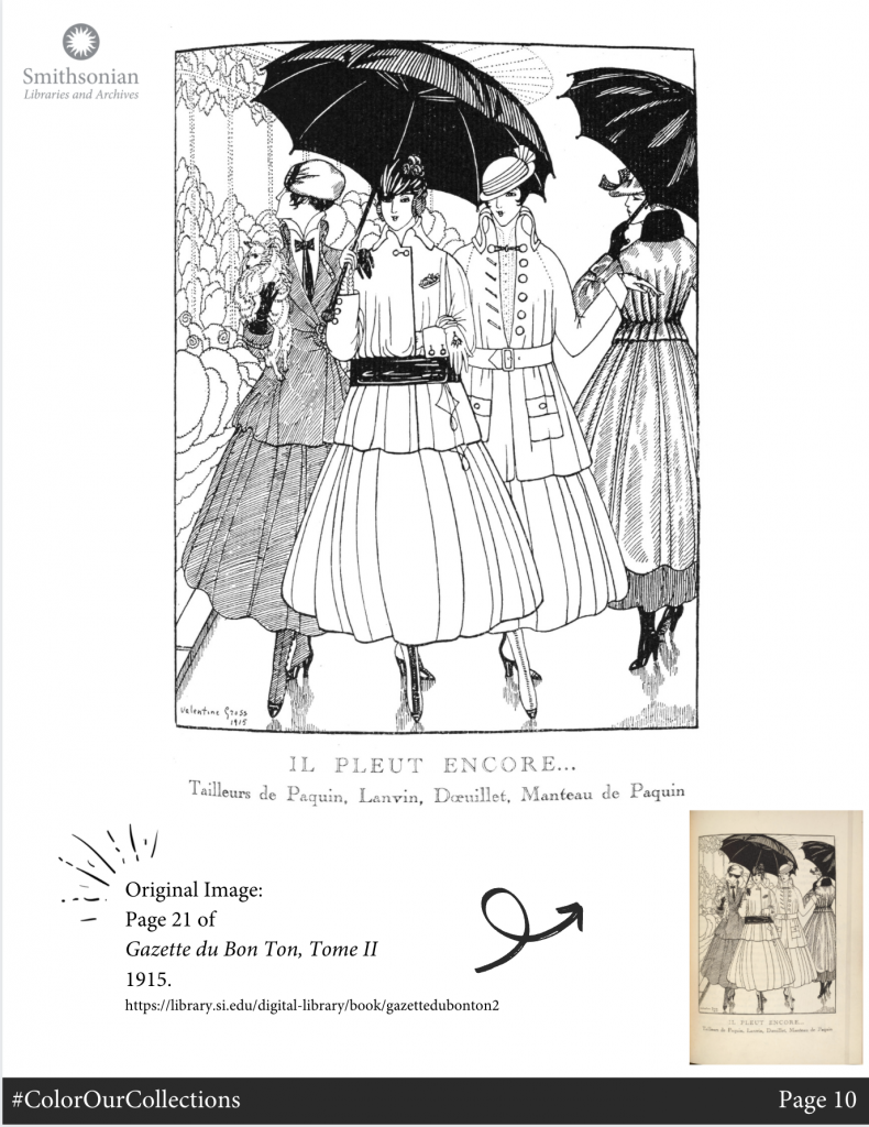 Black and white illustration of a group of women in dresses with umbrellas.