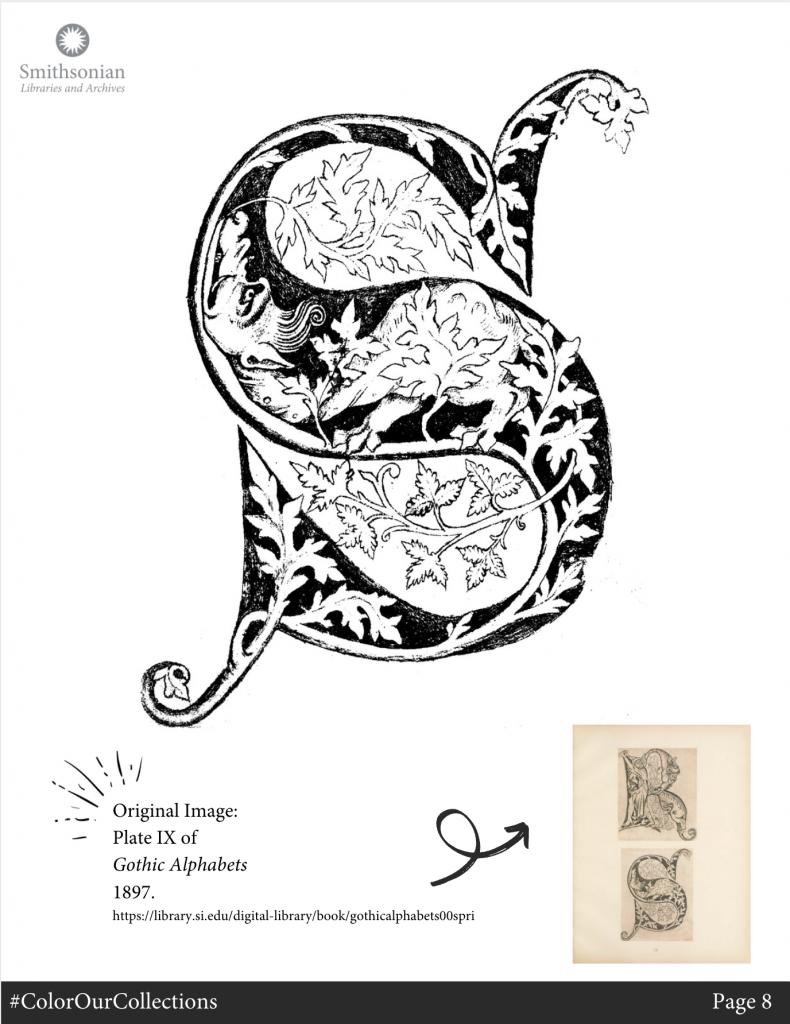 Black and white illustration of illuminated letter S