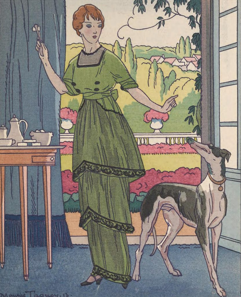 Illustration of woman in green dress with dog standing in front of window.