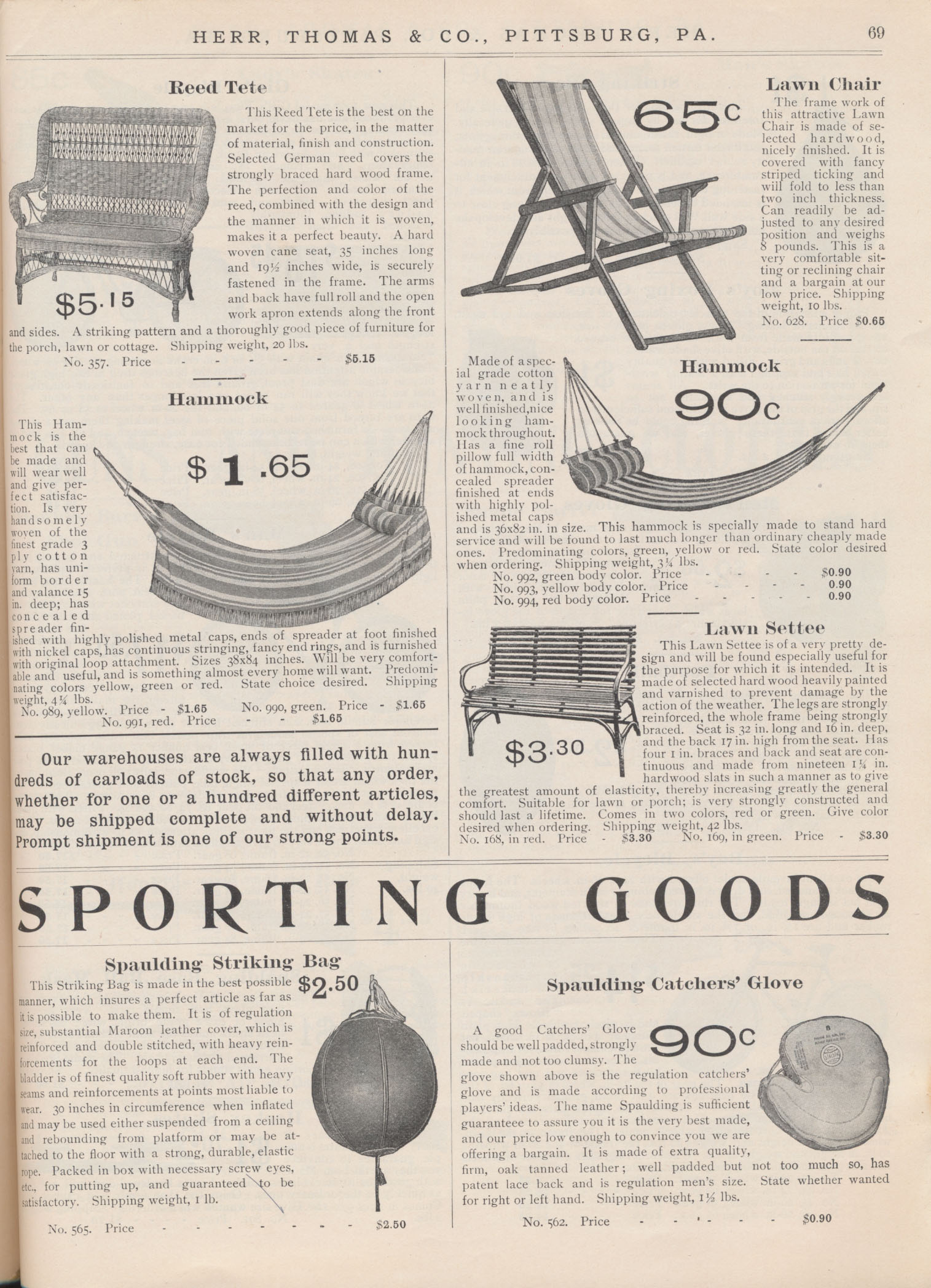 Lawn and porch furniture including reed tete, lawn chair, two hammocks, and lawn settee and Sporting Goods including Spaulding Striking Bag and Spaulding Catchers' Glove