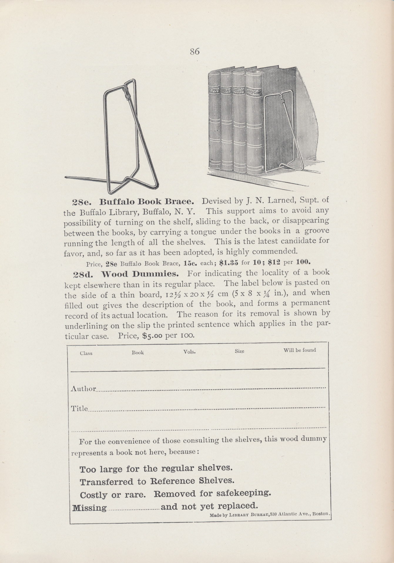 Buffalo Book Brace and label for Wood Dummies