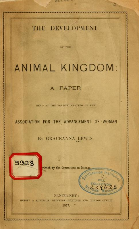 Plain paper cover of The Development of the Animal Kingdom