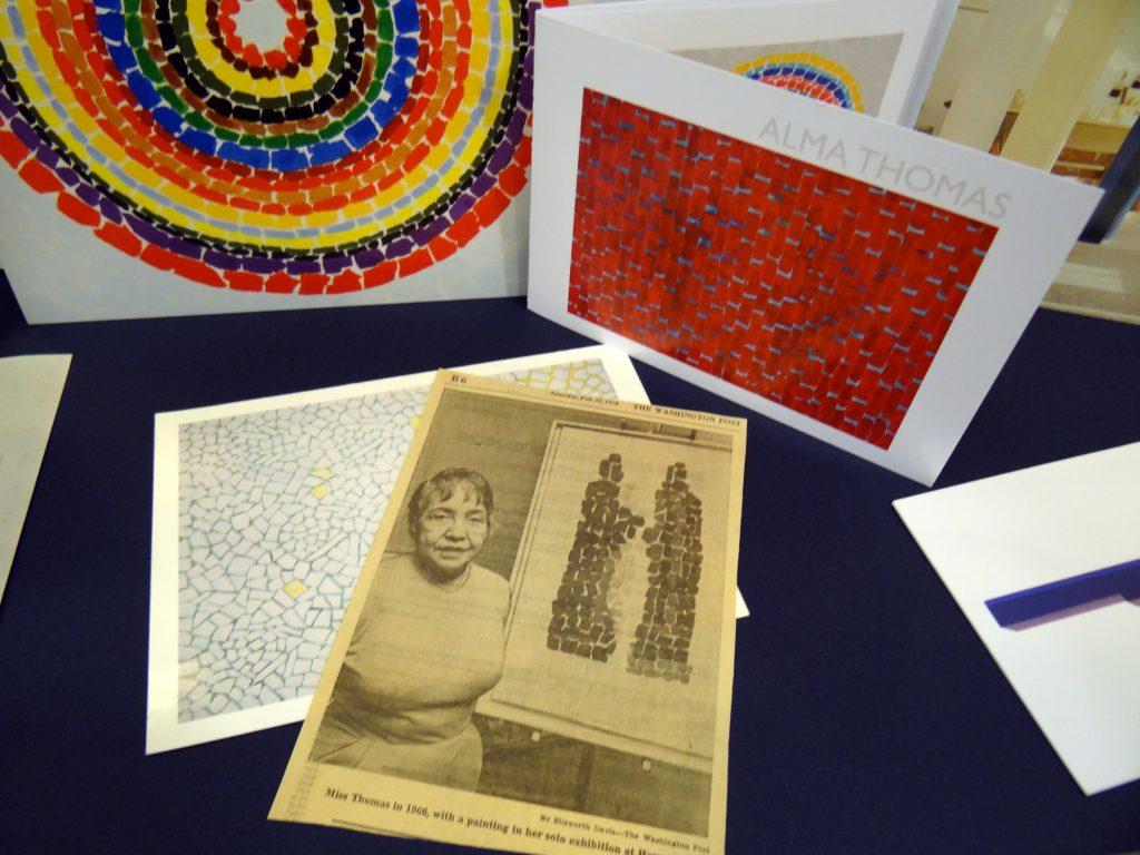 Ephemera showing art work and information about artist Alma Thomas.