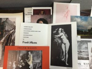 Photo of an array of ephemera for Frank Mason. This is an example of the type of materials Natalia Addison worked with during her internship.