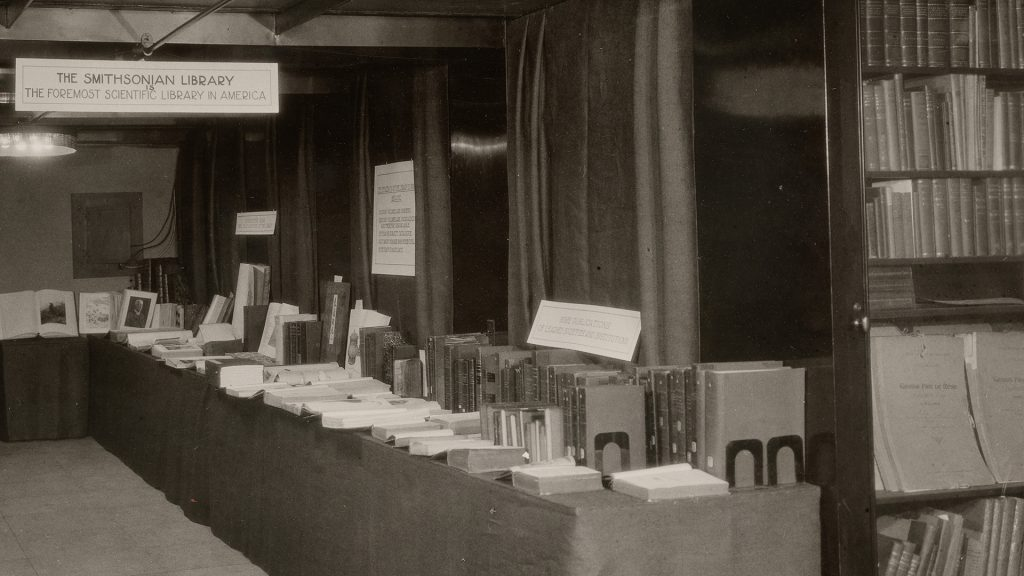 Black and white photograph of library display.