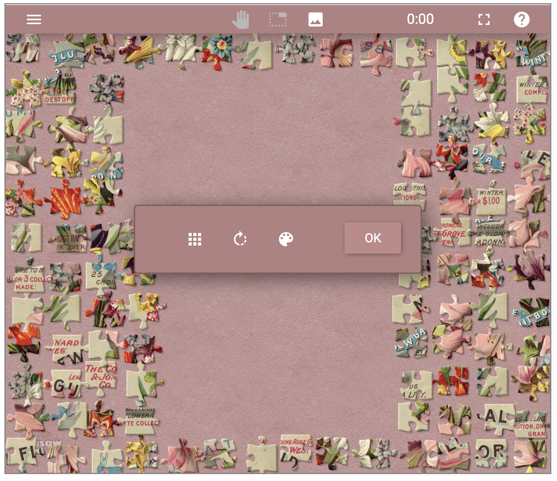 Screenshot of digital jigsaw puzzle with pink background.