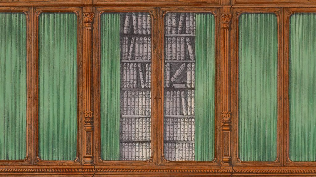 Book illustration of book shelves with green curtains.