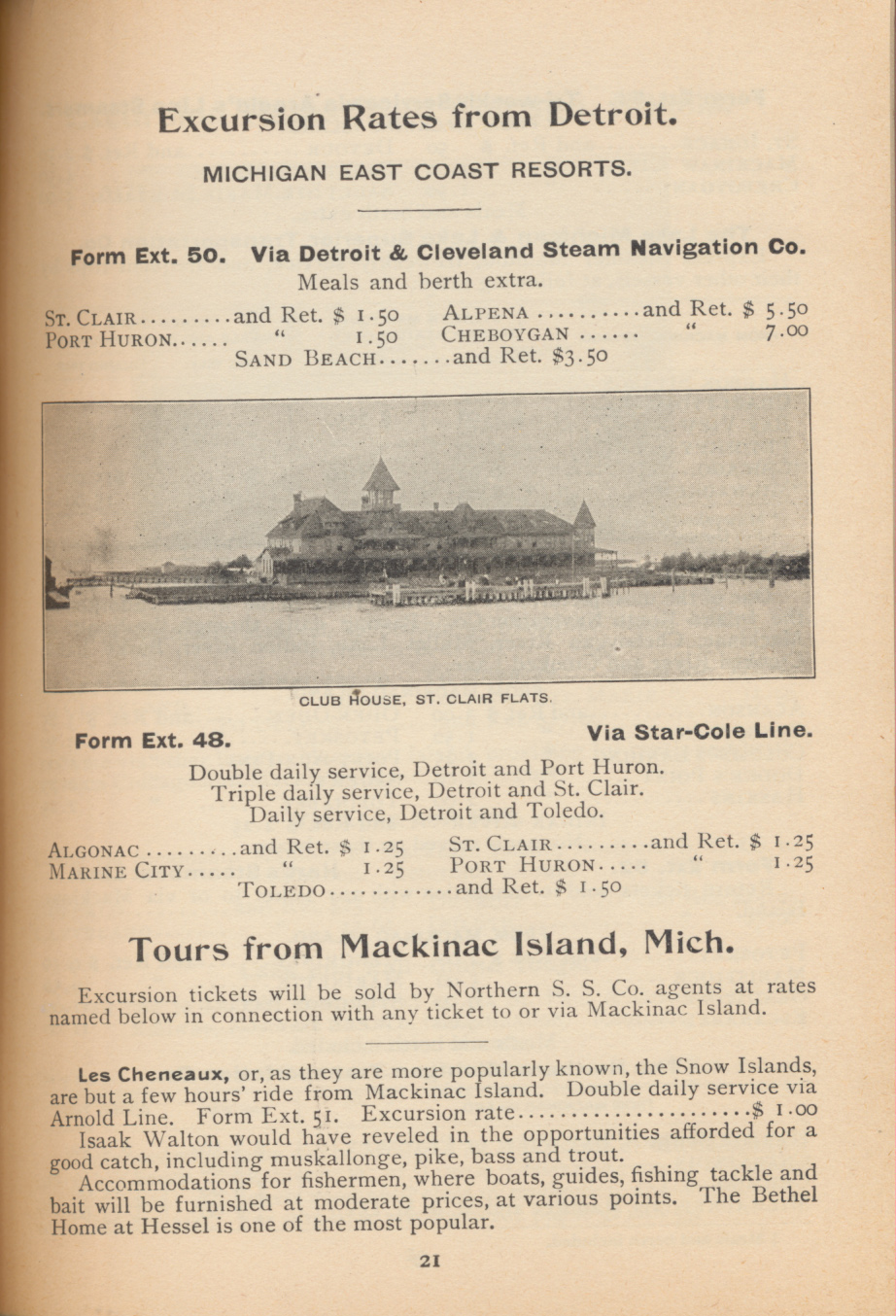 Club House, St. Clair Flats and information about excursion rates from Detroit, Michigan and Mackinac Island, Michigan