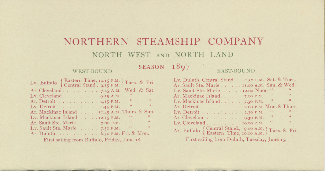 """Season of 1897 Schedule for """"North West"""" and """"North Land"""" steamships"""