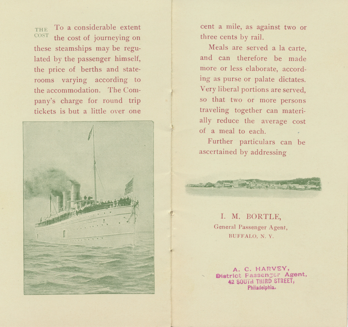 steamship sailing on the water and a shoreline