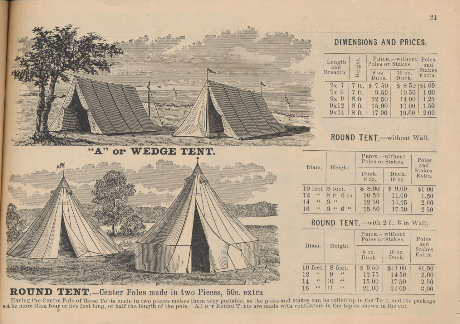 """Two """"A"""" or Wedge Tents, one with door fully drawn open and another with door halfway drawn open and Two Round Tents, one with a wall and one without a wall"""