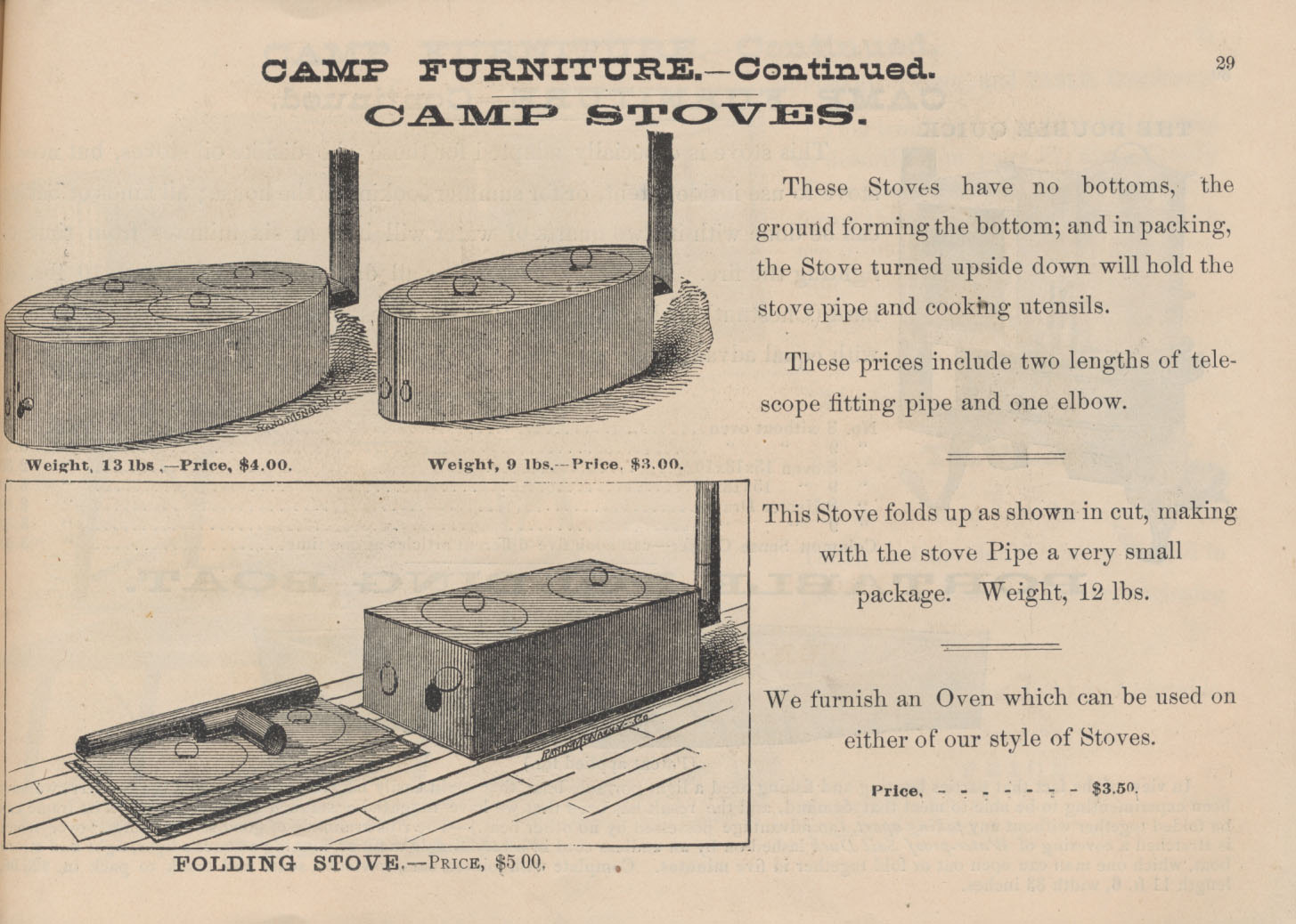 two camp stoves and a folding stove shown in the folded and unfolded positions