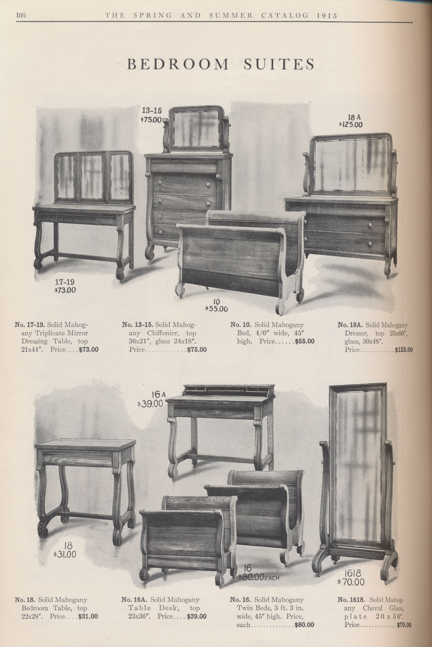 Furniture for Bedroom Suites including Dressing Table, Chiffonier, Bed, Dresser, Bedroom Table, Table Desk, Twin Beds, and Cheval Glass