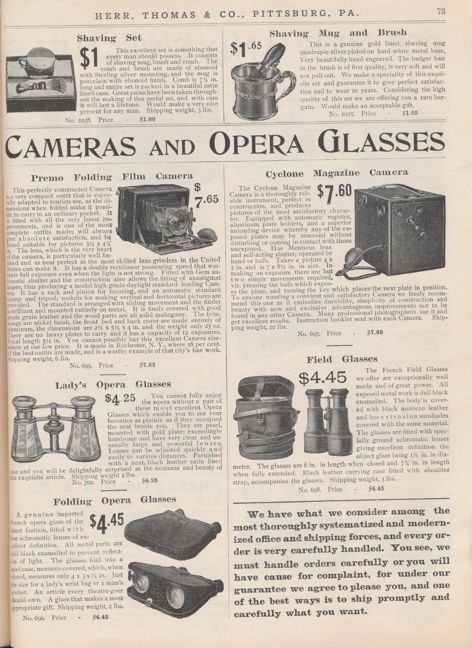 Shaving Set, Shaving Mug and Brush, Premo Folding Film Camera, Cyclone Magazine Camera, Lady's Opera Glasses, Folding Opera Glasses, Field Glasses