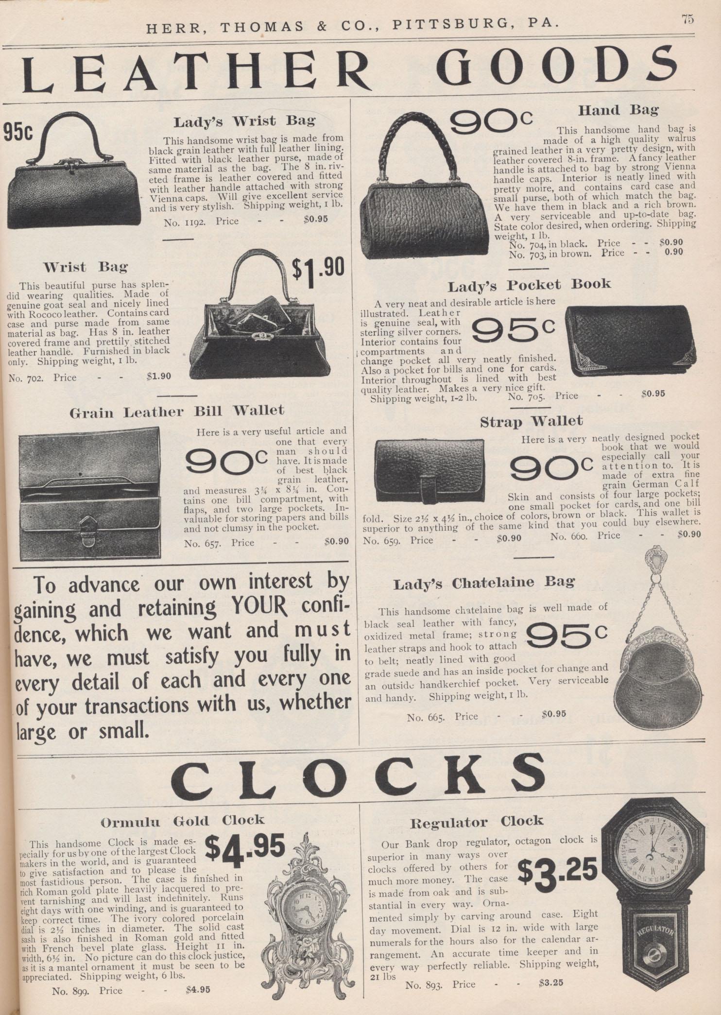 Lady's Wrist Bag, Wrist Bag, Grain Leather Bill Wallet, Hand Bag, Lady's Pocket Book, Strap Wallet, Lady's Chatelaine Bag, Ormulu Gold Clock, Regulator Clock