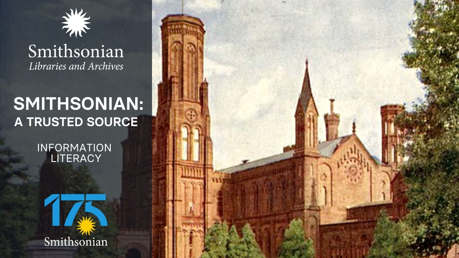 Information Literacy graphic, featuring image of Smithsonian Institution Building.