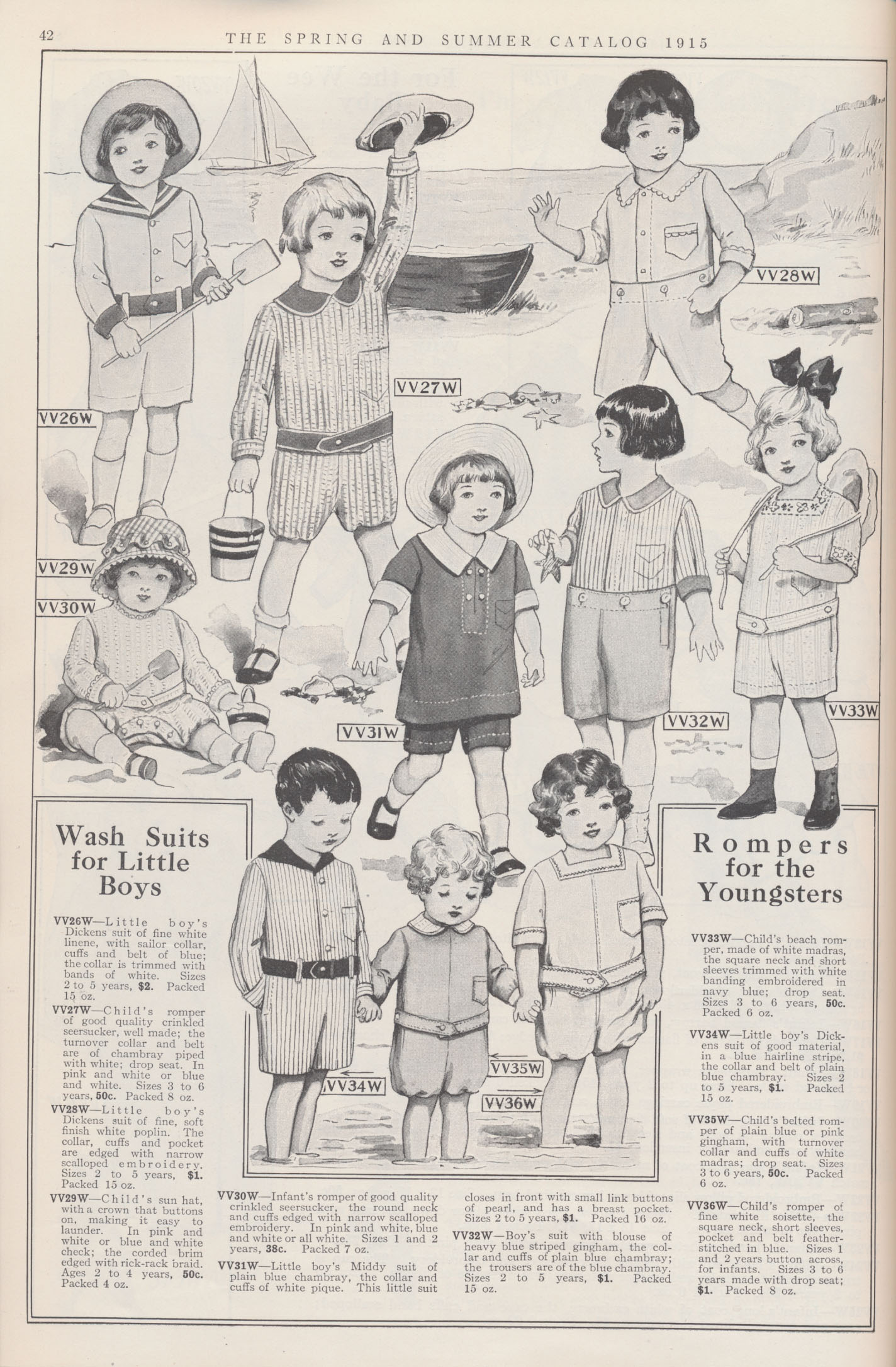 Boys' Wash Suits, Child's Rompers, and Child's Hat