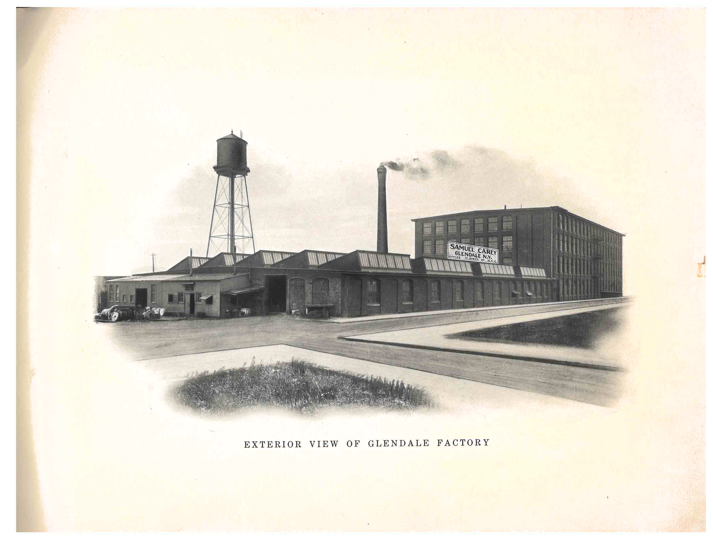 exterior view of the Glendale Factory of Samuel Carey in Glendale, New York
